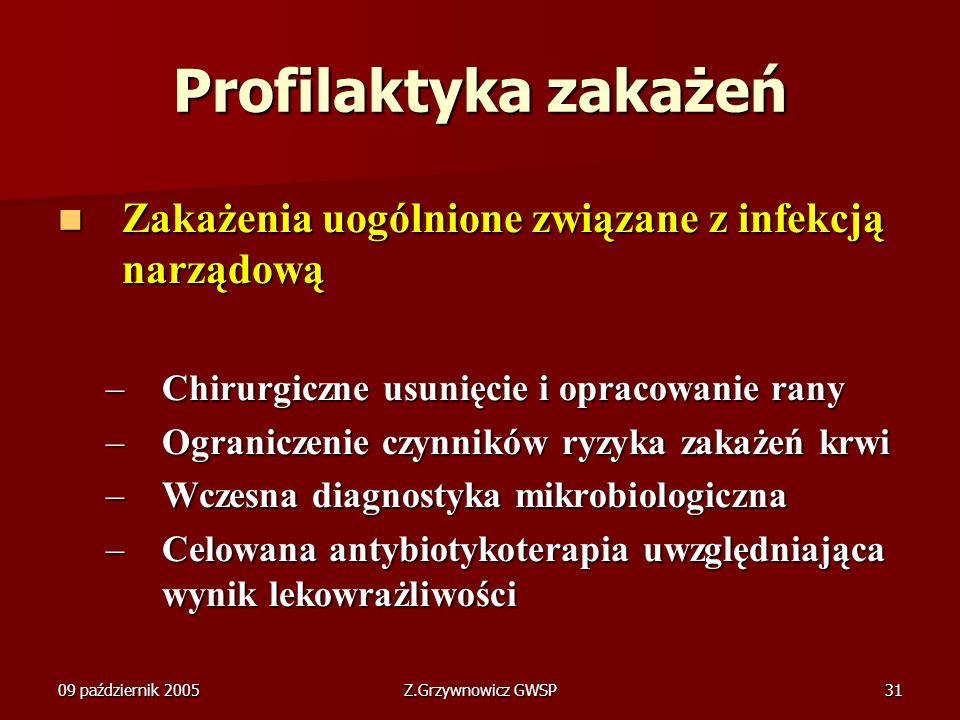 09 październik 2005Z.Grzywnowicz GWSP31 Profilaktyka zakażeń Zakażenia uogólnione związane z infekcją narządową Zakażenia uogólnione związane z infekc