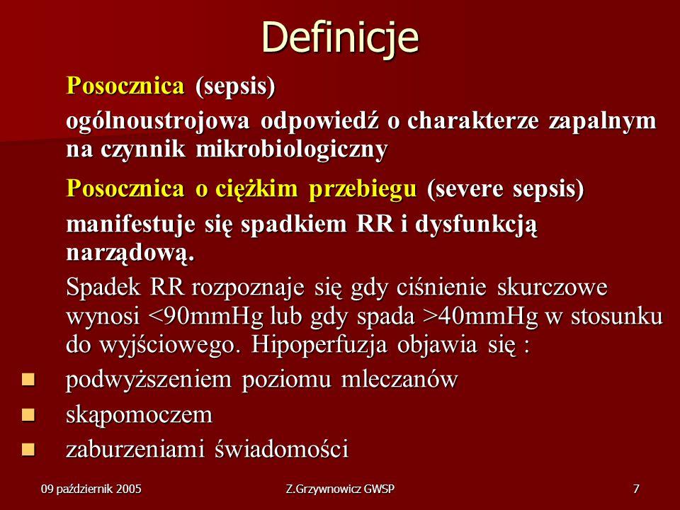 09 październik 2005Z.Grzywnowicz GWSP7 Definicje Posocznica (sepsis) ogólnoustrojowa odpowiedź o charakterze zapalnym na czynnik mikrobiologiczny Poso
