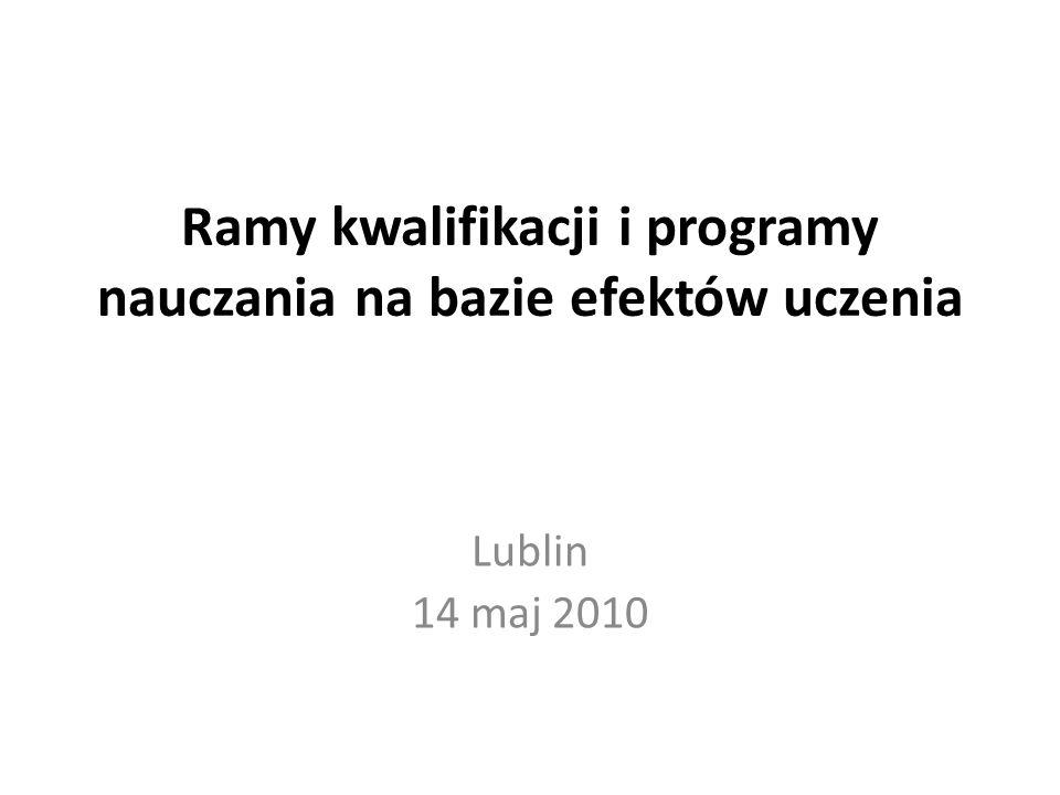 Ramy kwalifikacji i programy nauczania na bazie efektów uczenia Lublin 14 maj 2010