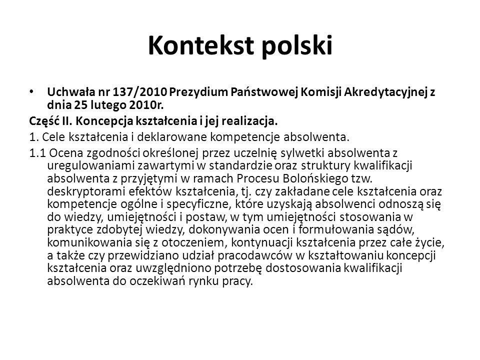 Kontekst polski Uchwała nr 137/2010 Prezydium Państwowej Komisji Akredytacyjnej z dnia 25 lutego 2010r. Część II. Koncepcja kształcenia i jej realizac