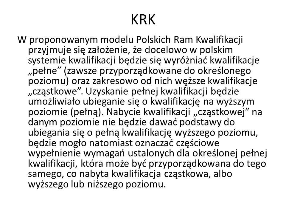 KRK W proponowanym modelu Polskich Ram Kwalifikacji przyjmuje się założenie, że docelowo w polskim systemie kwalifikacji będzie się wyróżniać kwalifik