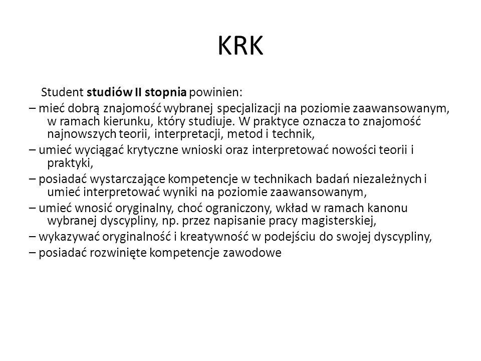 KRK Student studiów II stopnia powinien: – mieć dobrą znajomość wybranej specjalizacji na poziomie zaawansowanym, w ramach kierunku, który studiuje. W