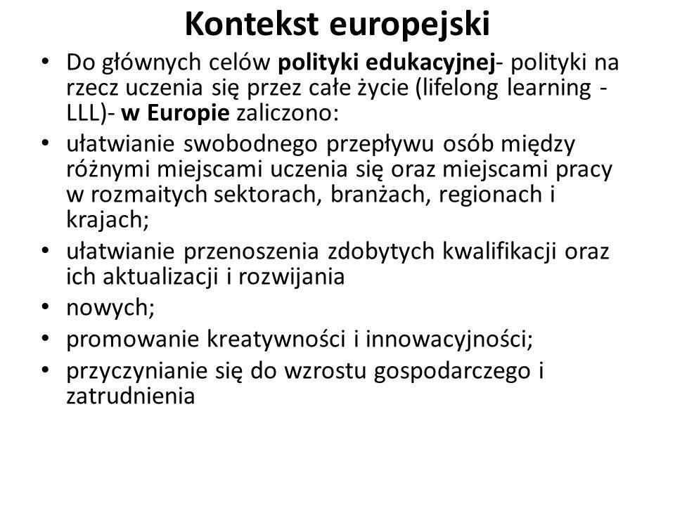 Kontekst europejski Do głównych celów polityki edukacyjnej- polityki na rzecz uczenia się przez całe życie (lifelong learning - LLL)- w Europie zalicz