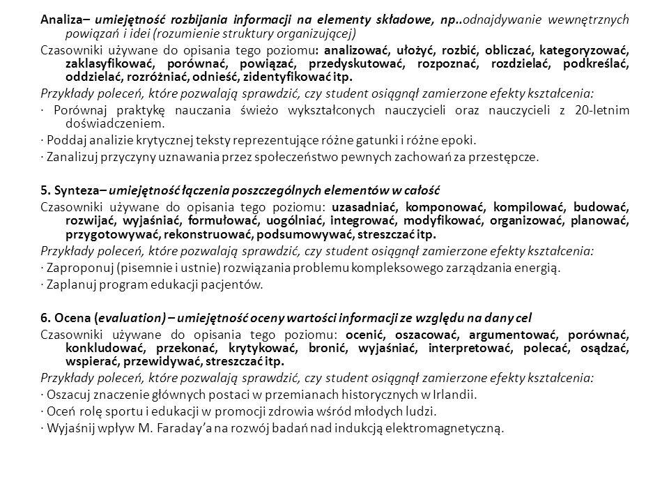Analiza– umiejętność rozbijania informacji na elementy składowe, np..odnajdywanie wewnętrznych powiązań i idei (rozumienie struktury organizującej) Cz