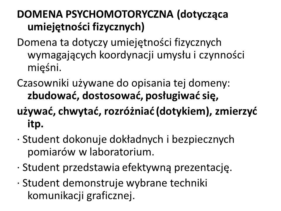 DOMENA PSYCHOMOTORYCZNA (dotycząca umiejętności fizycznych) Domena ta dotyczy umiejętności fizycznych wymagających koordynacji umysłu i czynności mięś
