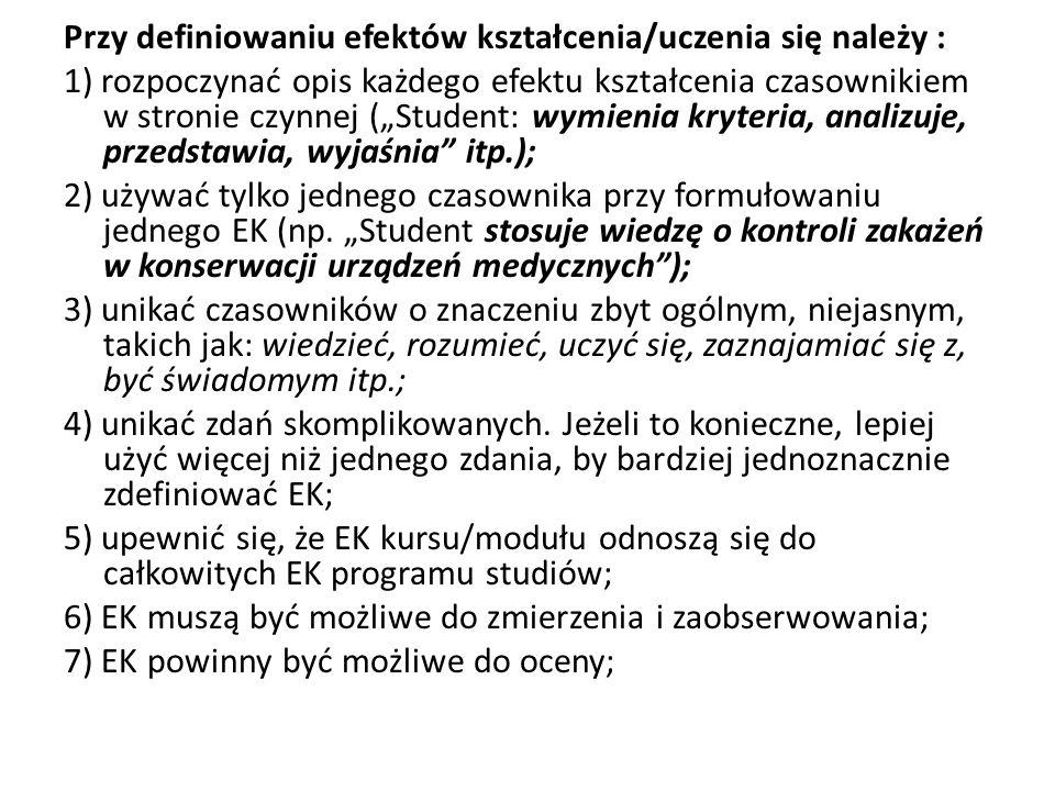 Przy definiowaniu efektów kształcenia/uczenia się należy : 1) rozpoczynać opis każdego efektu kształcenia czasownikiem w stronie czynnej (Student: wym