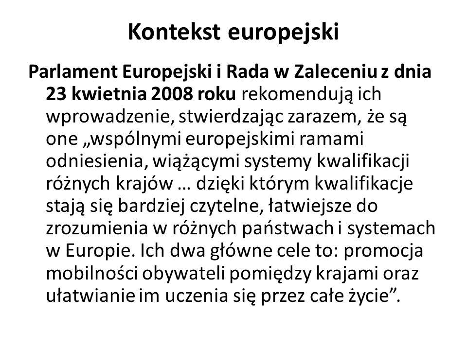 Kontekst europejski Parlament Europejski i Rada w Zaleceniu z dnia 23 kwietnia 2008 roku rekomendują ich wprowadzenie, stwierdzając zarazem, że są one