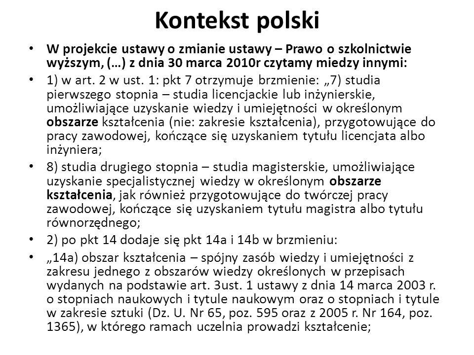 Kontekst polski W projekcie ustawy o zmianie ustawy – Prawo o szkolnictwie wyższym, (…) z dnia 30 marca 2010r czytamy miedzy innymi: 1) w art. 2 w ust