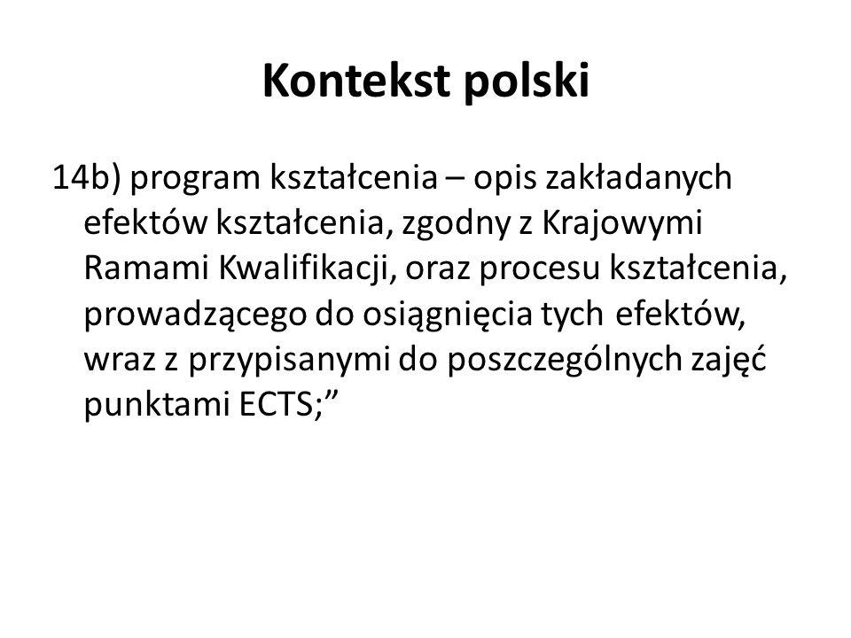 Kontekst polski 14b) program kształcenia – opis zakładanych efektów kształcenia, zgodny z Krajowymi Ramami Kwalifikacji, oraz procesu kształcenia, pro