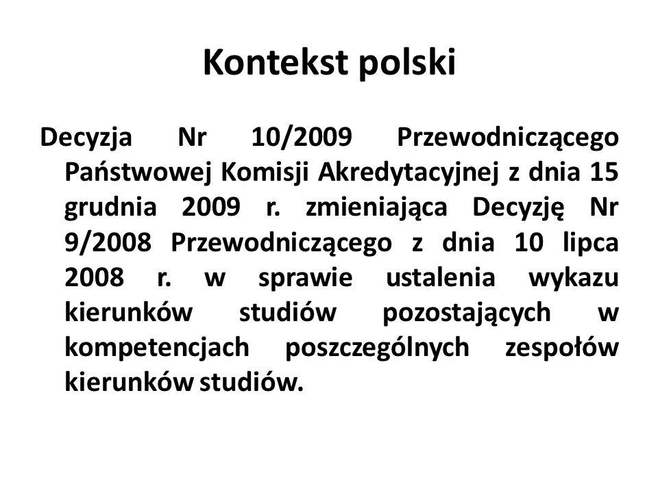 Kontekst polski Decyzja Nr 10/2009 Przewodniczącego Państwowej Komisji Akredytacyjnej z dnia 15 grudnia 2009 r. zmieniająca Decyzję Nr 9/2008 Przewodn