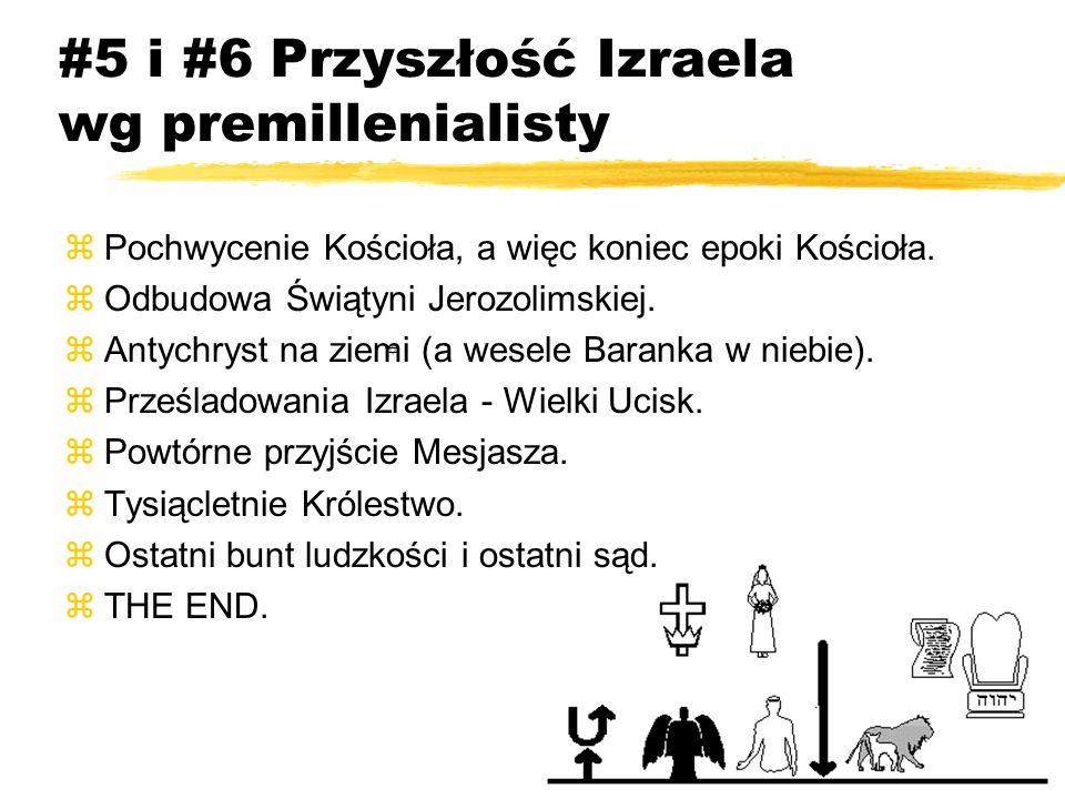 #5 i #6 Przyszłość Izraela wg premillenialisty zPochwycenie Kościoła, a więc koniec epoki Kościoła. zOdbudowa Świątyni Jerozolimskiej. zAntychryst na