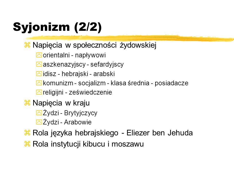 Syjonizm (2/2) zNapięcia w społeczności żydowskiej yorientalni - napływowi yaszkenazyjscy - sefardyjscy yidisz - hebrajski - arabski ykomunizm - socja