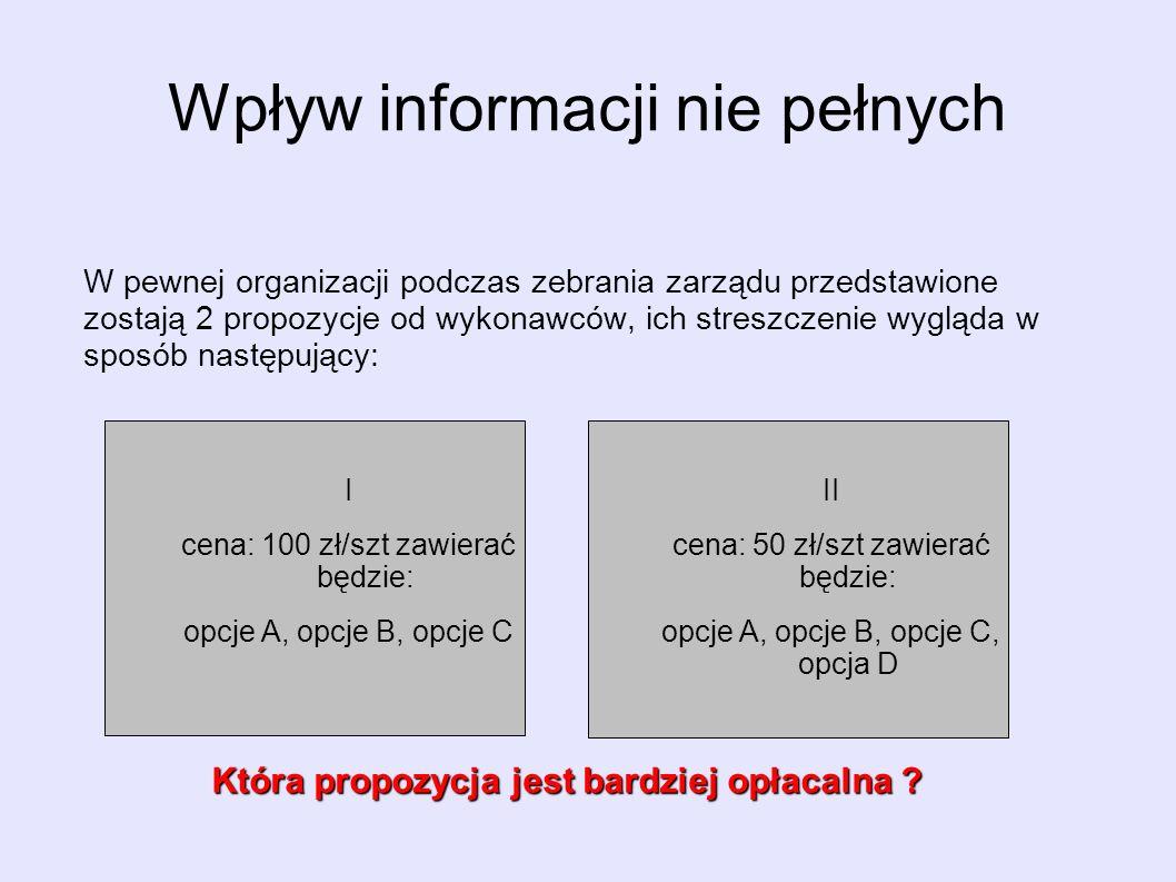 Wpływ informacji nie pełnych W pewnej organizacji podczas zebrania zarządu przedstawione zostają 2 propozycje od wykonawców, ich streszczenie wygląda w sposób następujący: II cena: 50 zł/szt zawierać będzie: opcje A, opcje B, opcje C, opcja D I cena: 100 zł/szt zawierać będzie: opcje A, opcje B, opcje C Która propozycja jest bardziej opłacalna