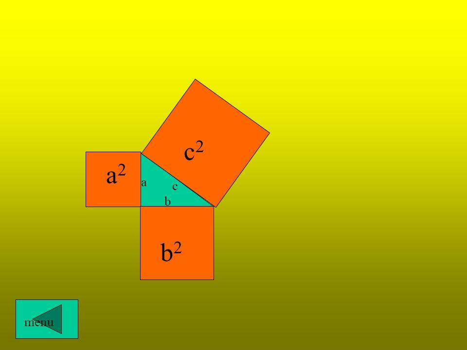 a - przyprostokątna b - przyprostokątna c - przeciwprosokątna a b c a 2 + b 2 = c 2