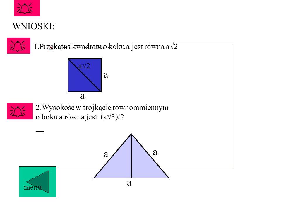 Przykład 1. Przekątna ekranu monitora, który jest kwadratem ma długość 36 cm. Wyznacz długości boków tego ekranu. A BC Przykład 2. Na rysunku przedsta