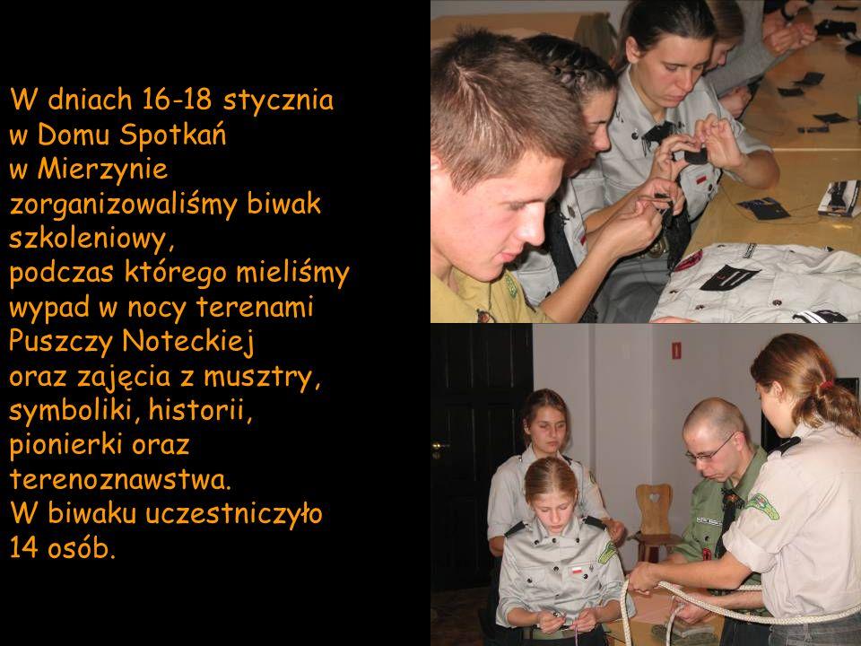 W dniach 16-18 stycznia w Domu Spotkań w Mierzynie zorganizowaliśmy biwak szkoleniowy, podczas którego mieliśmy wypad w nocy terenami Puszczy Noteckie
