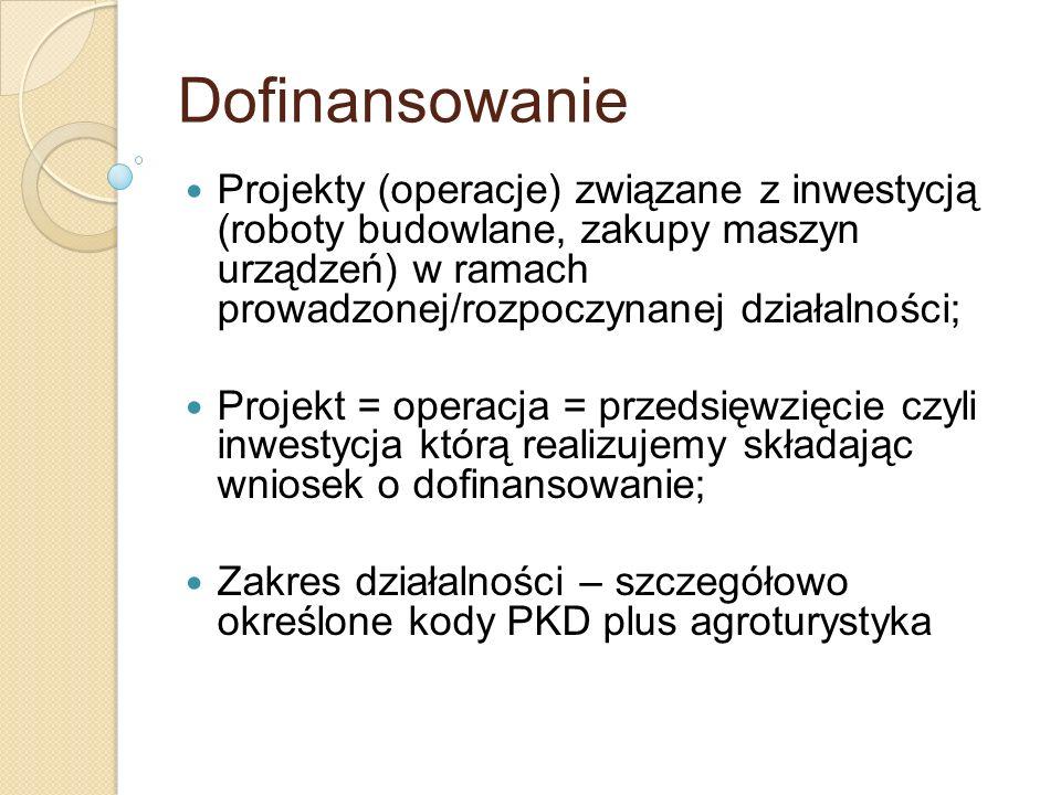 Dofinansowanie Projekty (operacje) związane z inwestycją (roboty budowlane, zakupy maszyn urządzeń) w ramach prowadzonej/rozpoczynanej działalności; P