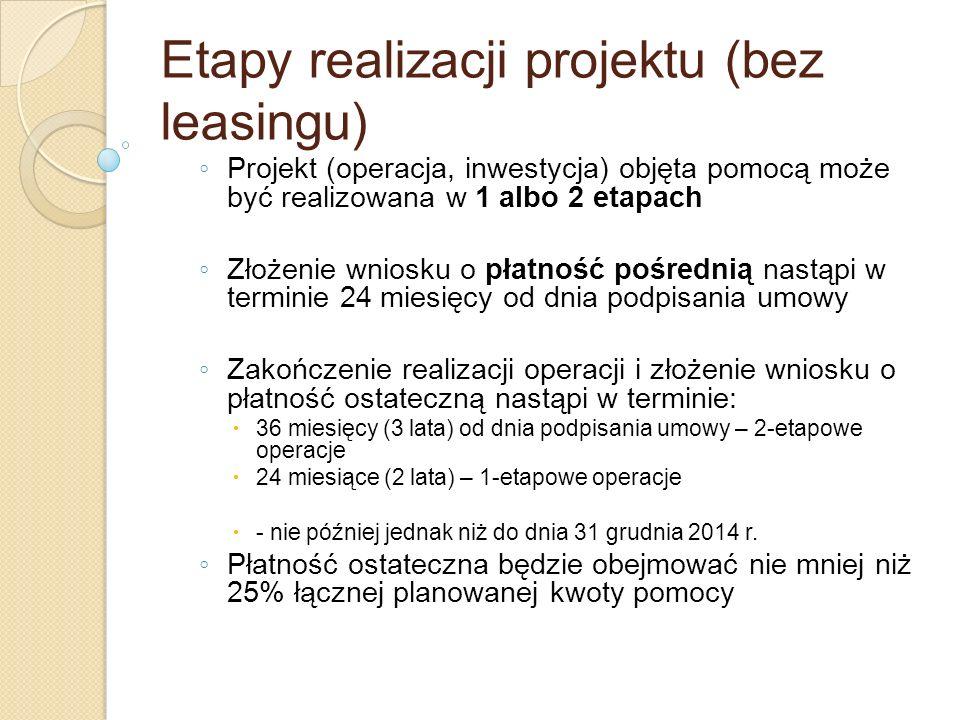 Etapy realizacji projektu (bez leasingu) Projekt (operacja, inwestycja) objęta pomocą może być realizowana w 1 albo 2 etapach Złożenie wniosku o płatn