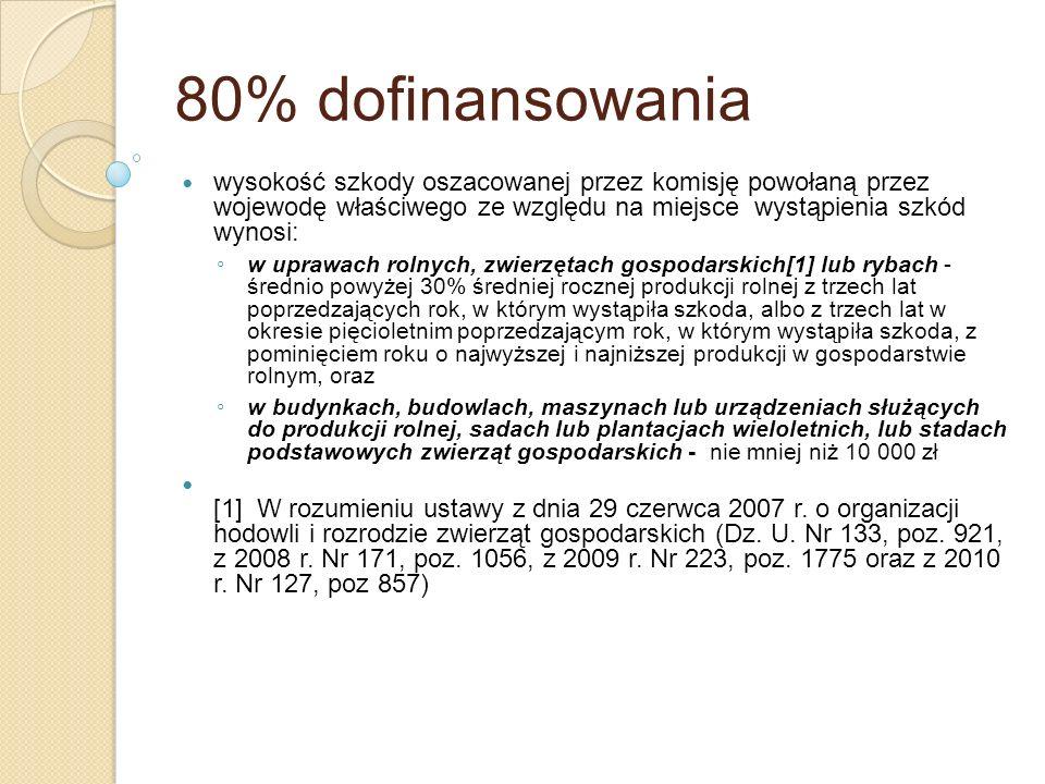 80% dofinansowania wysokość szkody oszacowanej przez komisję powołaną przez wojewodę właściwego ze względu na miejsce wystąpienia szkód wynosi: w upra