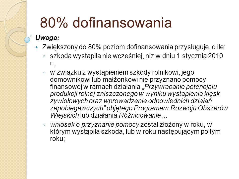 80% dofinansowania Uwaga: Zwiększony do 80% poziom dofinansowania przysługuje, o ile: szkoda wystąpiła nie wcześniej, niż w dniu 1 stycznia 2010 r., w