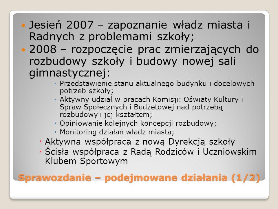 Sprawozdanie – podejmowane działania (1/2) Jesień 2007 – zapoznanie władz miasta i Radnych z problemami szkoły; 2008 – rozpoczęcie prac zmierzających