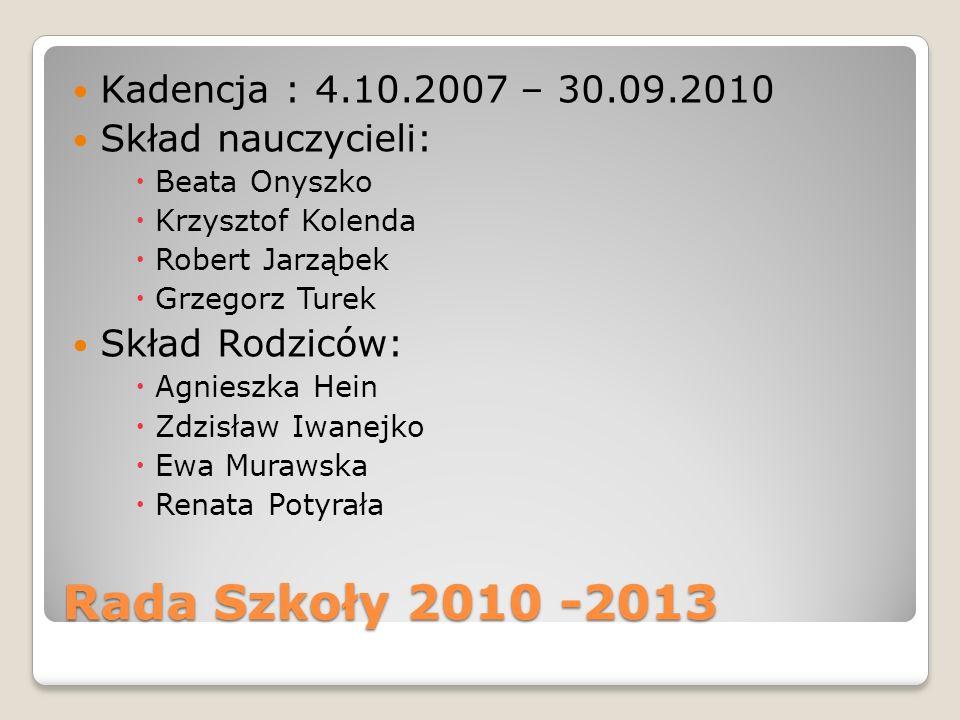 Rada Szkoły 2010 -2013 Kadencja : 4.10.2007 – 30.09.2010 Skład nauczycieli: Beata Onyszko Krzysztof Kolenda Robert Jarząbek Grzegorz Turek Skład Rodzi