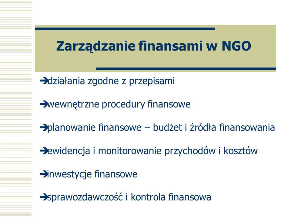 Zarządzanie finansami w NGO è działania zgodne z przepisami è wewnętrzne procedury finansowe è planowanie finansowe – budżet i źródła finansowania è e
