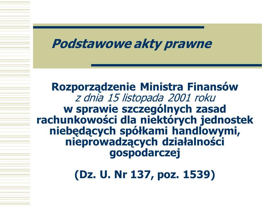 Rozporządzenie Ministra Finansów z dnia 15 listopada 2001 roku w sprawie szczególnych zasad rachunkowości dla niektórych jednostek niebędących spółkam