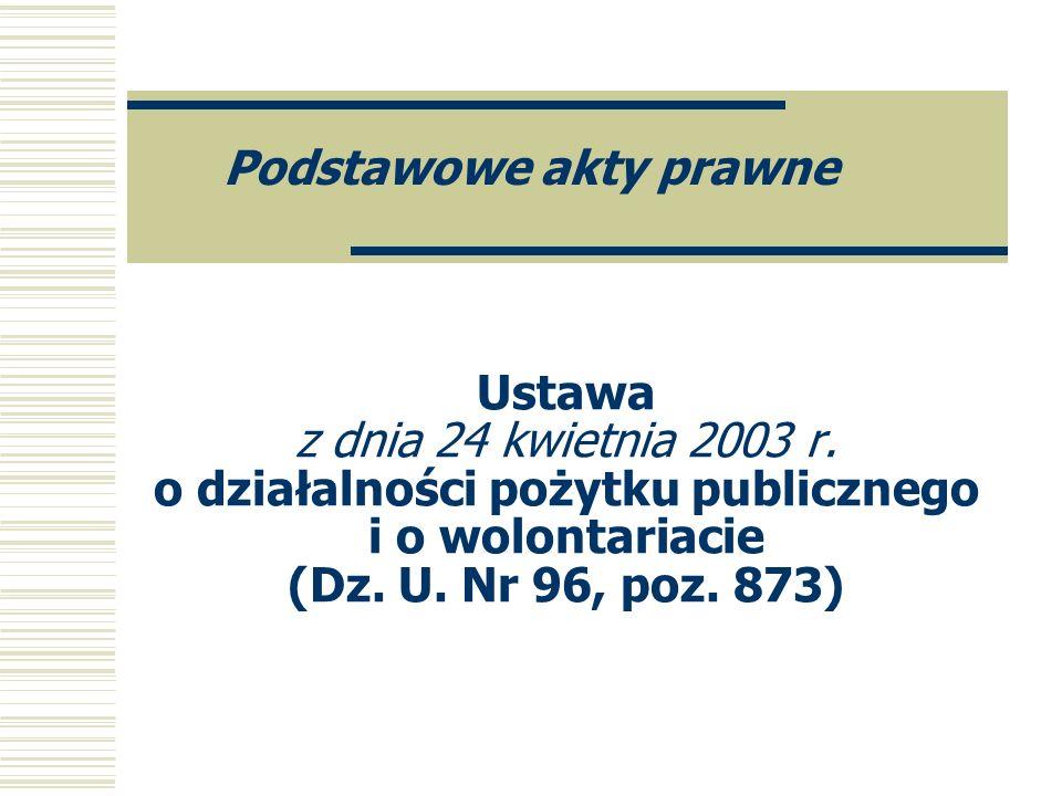 Ustawa z dnia 24 kwietnia 2003 r. o działalności pożytku publicznego i o wolontariacie (Dz. U. Nr 96, poz. 873) Podstawowe akty prawne