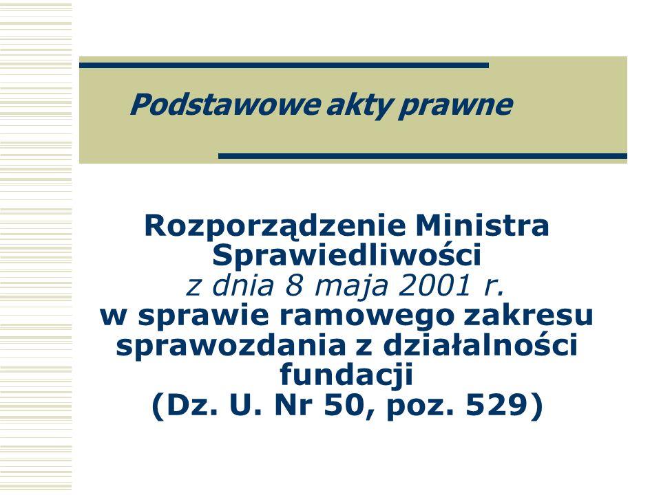 Rozporządzenie Ministra Sprawiedliwości z dnia 8 maja 2001 r. w sprawie ramowego zakresu sprawozdania z działalności fundacji (Dz. U. Nr 50, poz. 529)