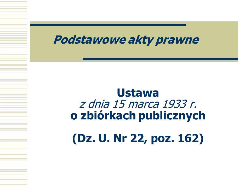 Ustawa z dnia 15 marca 1933 r. o zbiórkach publicznych (Dz. U. Nr 22, poz. 162) Podstawowe akty prawne