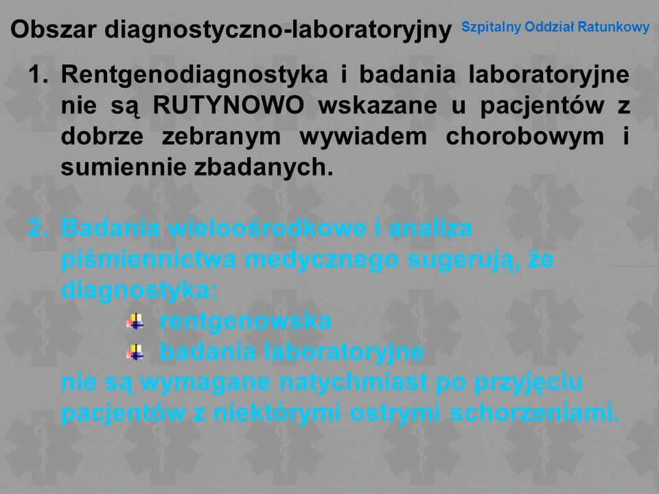 Obszar diagnostyczno-laboratoryjny Szpitalny Oddział Ratunkowy 1.Rentgenodiagnostyka i badania laboratoryjne nie są RUTYNOWO wskazane u pacjentów z do