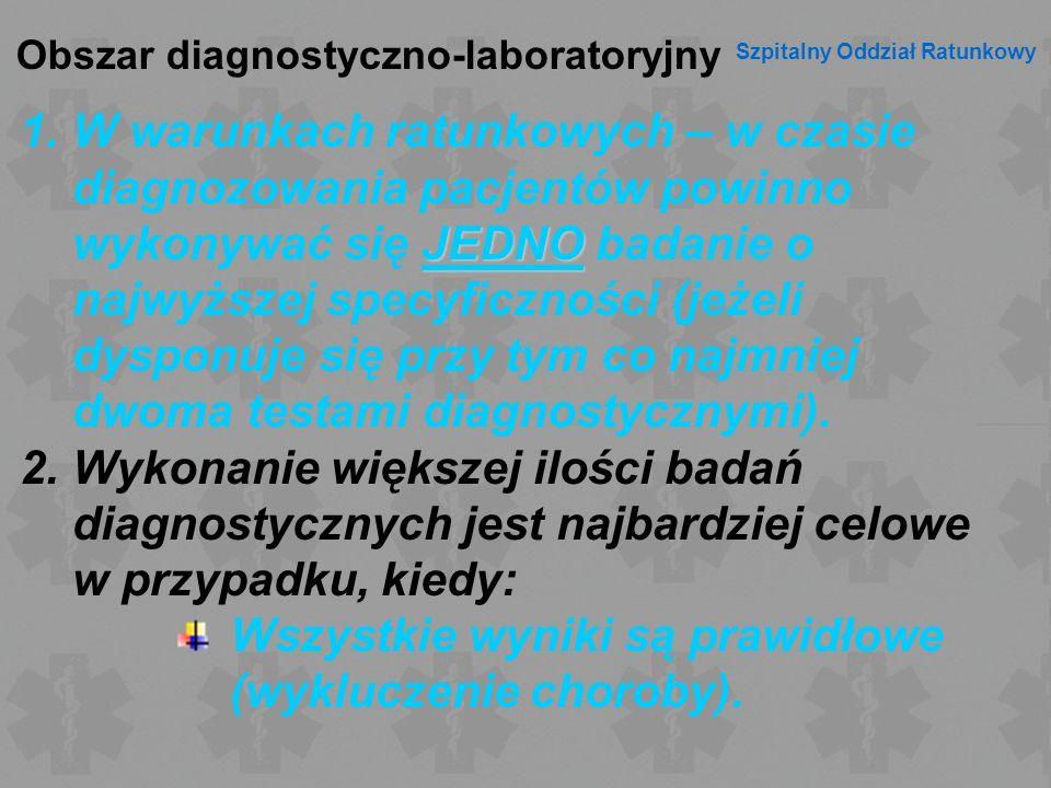 Obszar diagnostyczno-laboratoryjny Szpitalny Oddział Ratunkowy JEDNO 1.W warunkach ratunkowych – w czasie diagnozowania pacjentów powinno wykonywać si