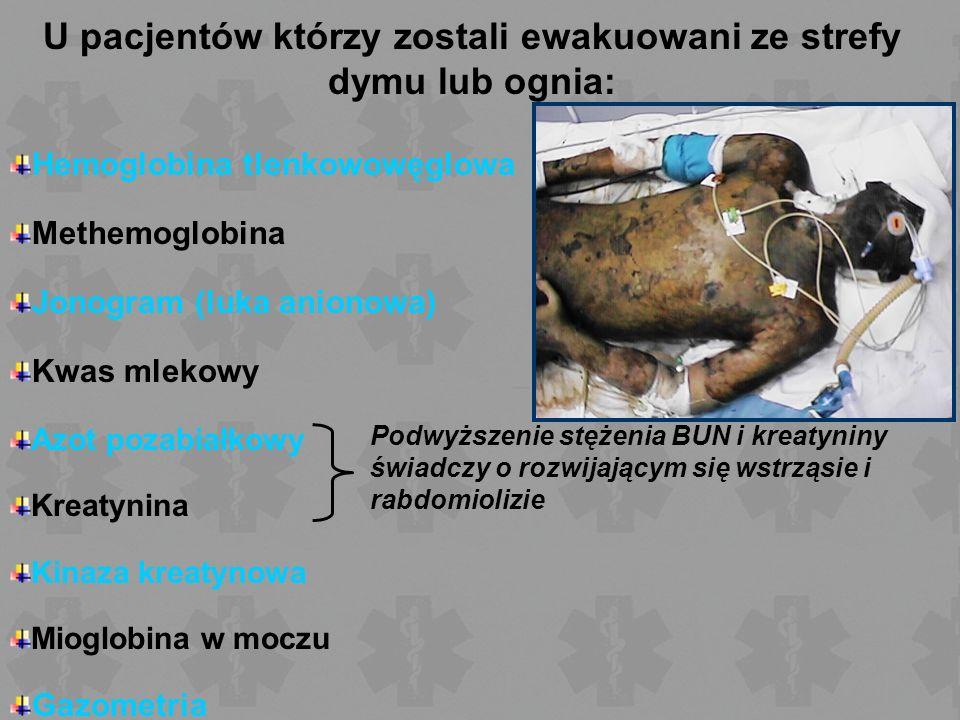 U pacjentów którzy zostali ewakuowani ze strefy dymu lub ognia: Hemoglobina tlenkowowęglowa Methemoglobina Jonogram (luka anionowa) Kwas mlekowy Azot