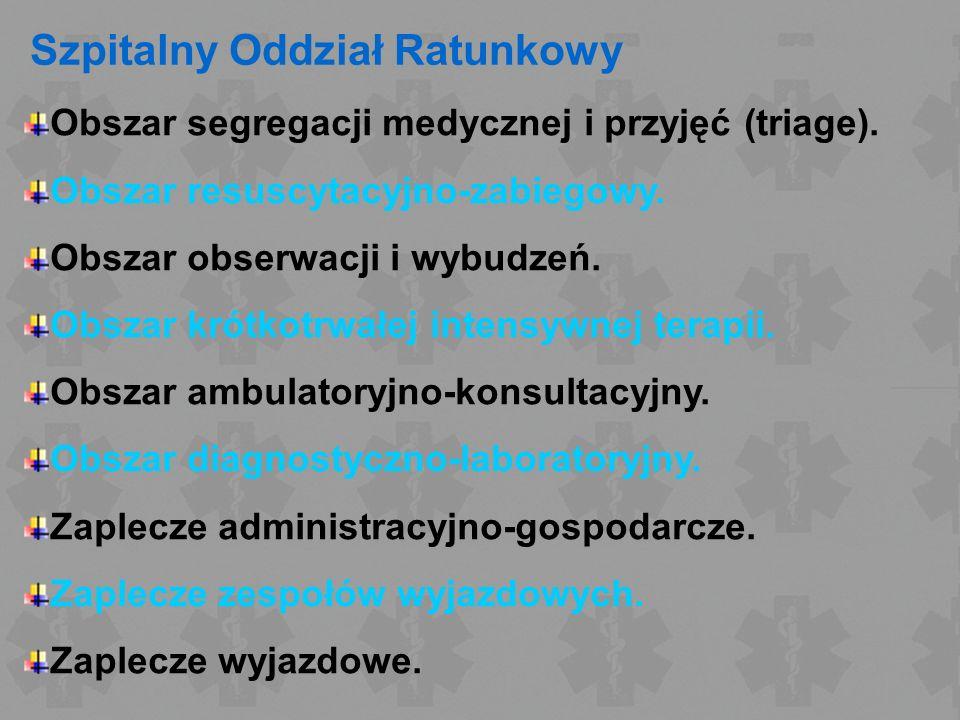 Szpitalny Oddział Ratunkowy Obszar segregacji medycznej i przyjęć (triage). Obszar resuscytacyjno-zabiegowy. Obszar obserwacji i wybudzeń. Obszar krót