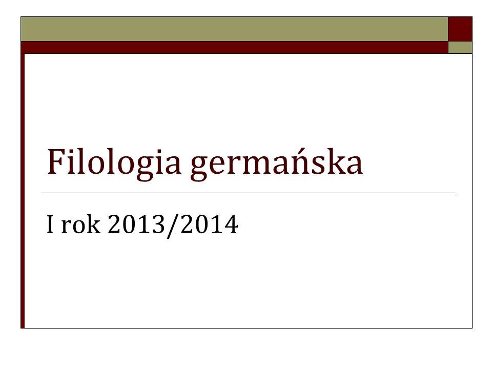 Informacje podstawowe Filologia germańska jest kierunkiem, w ramach którego uruchomione zostały następujące specjalności: Od I semestru Filologia germańska z drugim językiem obcym – JEZYK OBCY OD PODSTAW (hiszpański, włoski, francuski); Filologia germańska z językiem angielskim (niemiecki zaawansowany); Filologia germańska z językiem angielskim (niemiecki od podstaw); Od III semestru (drugiego roku) Filologia germańska, specjalność kulturoznawczo-dziennikarska Filologia germańska, specjalność lingwistyczna (językoznawcza) Filologia germańska, specjalność glottodydaktyczna (nauczycielska)