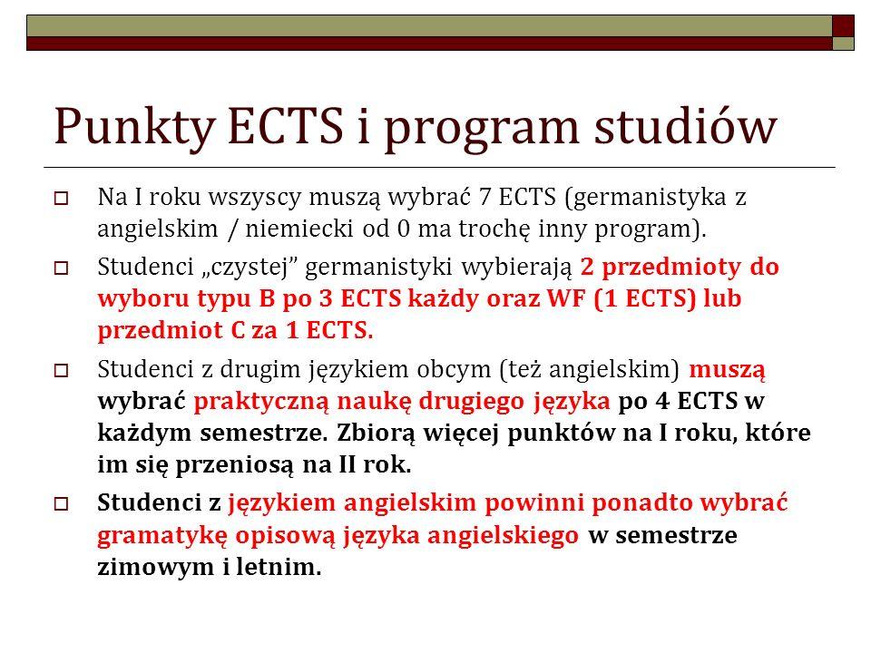 Punkty ECTS i program studiów Na I roku wszyscy muszą wybrać 7 ECTS (germanistyka z angielskim / niemiecki od 0 ma trochę inny program). Studenci czys