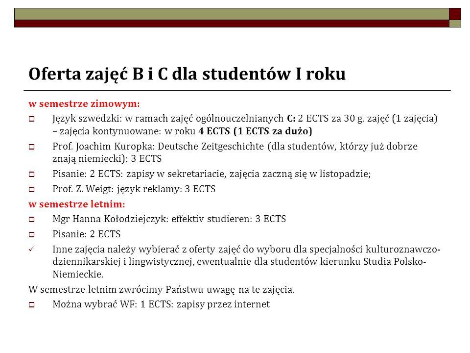Oferta zajęć B i C dla studentów I roku w semestrze zimowym: Język szwedzki: w ramach zajęć ogólnouczelnianych C: 2 ECTS za 30 g. zajęć (1 zajęcia) –