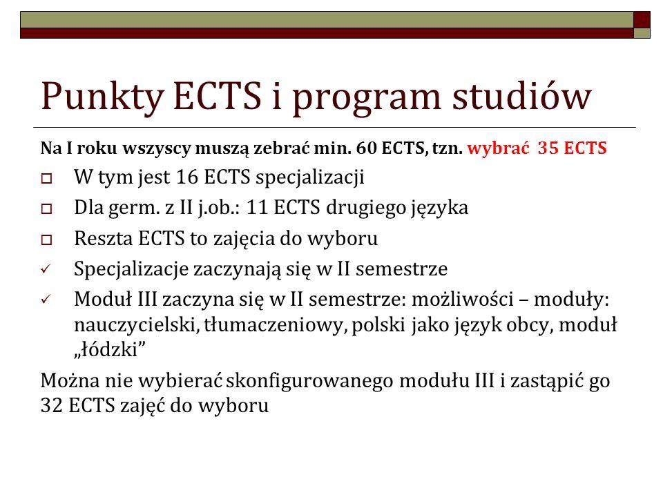 Punkty ECTS i program studiów Na I roku wszyscy muszą zebrać min. 60 ECTS, tzn. wybrać 35 ECTS W tym jest 16 ECTS specjalizacji Dla germ. z II j.ob.: