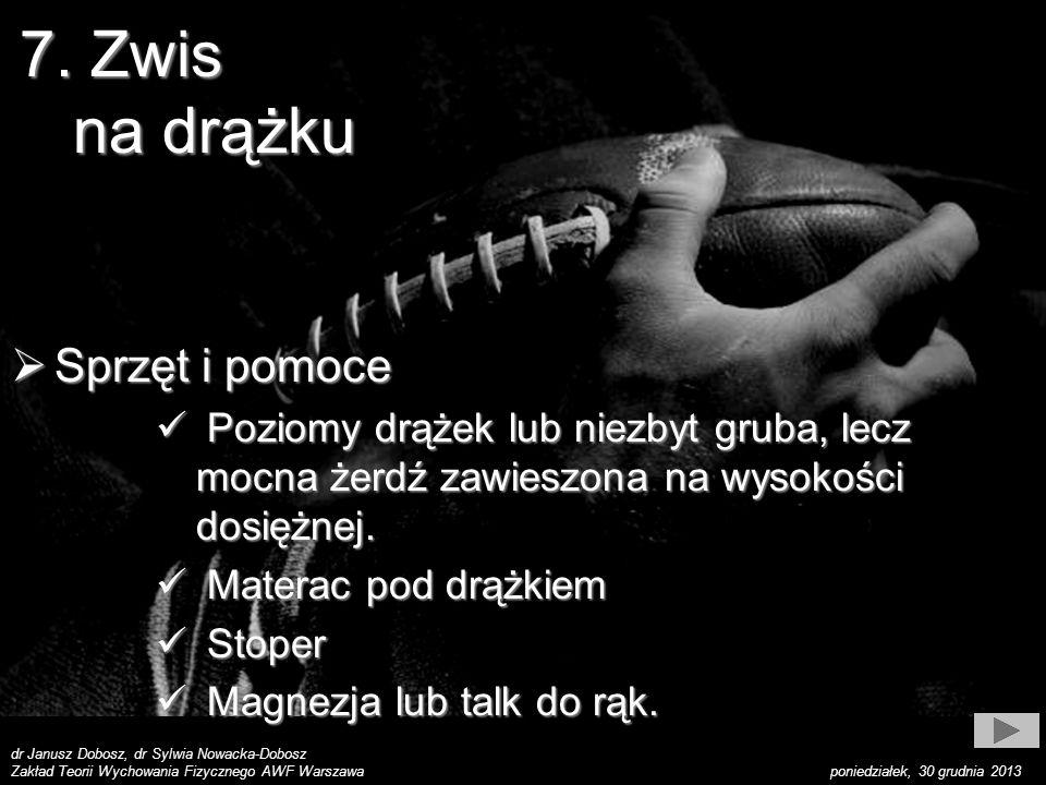 dr Janusz Dobosz, dr Sylwia Nowacka-Dobosz Zakład Teorii Wychowania Fizycznego AWF Warszawa poniedziałek, 30 grudnia 2013 7. Zwis na drążku Sprzęt i p