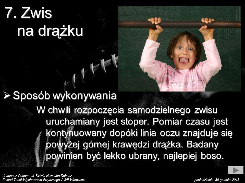 dr Janusz Dobosz, dr Sylwia Nowacka-Dobosz Zakład Teorii Wychowania Fizycznego AWF Warszawa poniedziałek, 30 grudnia 2013 Wynik Wynik Notuje się czas zwisu z dokładnością do jednej sekundy.