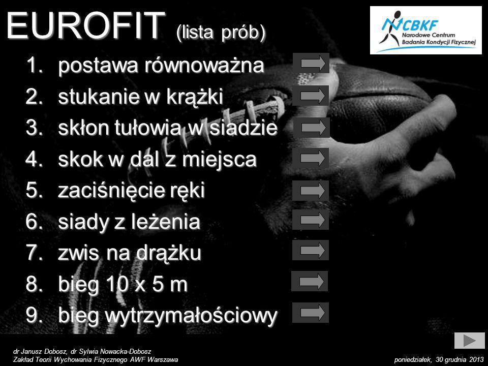 dr Janusz Dobosz, dr Sylwia Nowacka-Dobosz Zakład Teorii Wychowania Fizycznego AWF Warszawa poniedziałek, 30 grudnia 2013 EUROFIT (lista prób) 1.posta