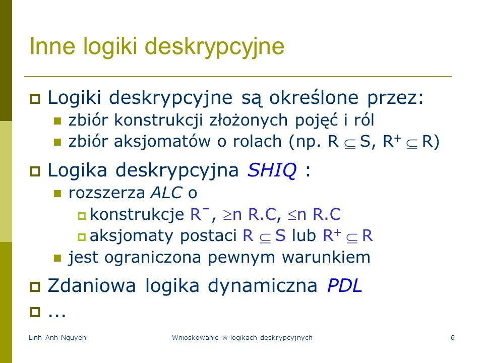 Linh Anh NguyenWnioskowanie w logikach deskrypcyjnych6 Inne logiki deskrypcyjne Logiki deskrypcyjne są określone przez: zbiór konstrukcji złożonych po