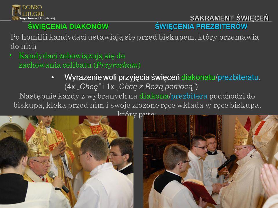 SAKRAMENT ŚWIĘCEŃ LITURGIA EUCHARYSTYCZNA Wszystko odbywa się jak zwykle/we Mszy koncelebrowanej oprócz następujących obrzędów: Kilku nowo wyświęconych diakonów przynosi biskupowi dary potrzebne do odprawiania Mszy; jeden z wyświęconych diakonów usługuje biskupowi przy ołtarzu.