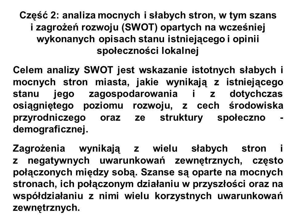 Część 2: analiza mocnych i słabych stron, w tym szans i zagrożeń rozwoju (SWOT) opartych na wcześniej wykonanych opisach stanu istniejącego i opinii s