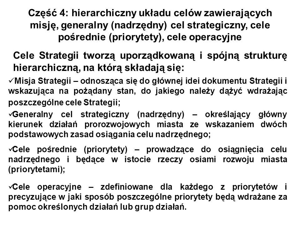 Część 4: hierarchiczny układu celów zawierających misję, generalny (nadrzędny) cel strategiczny, cele pośrednie (priorytety), cele operacyjne Cele Str