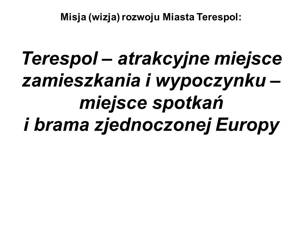 Misja (wizja) rozwoju Miasta Terespol: Terespol – atrakcyjne miejsce zamieszkania i wypoczynku – miejsce spotkań i brama zjednoczonej Europy