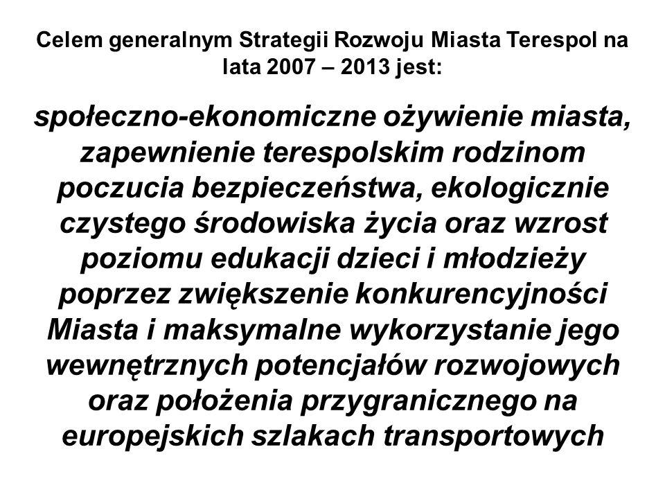 Celem generalnym Strategii Rozwoju Miasta Terespol na lata 2007 – 2013 jest: społeczno-ekonomiczne ożywienie miasta, zapewnienie terespolskim rodzinom