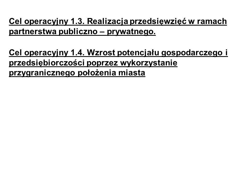 Cel operacyjny 1.3. Realizacja przedsięwzięć w ramach partnerstwa publiczno – prywatnego. Cel operacyjny 1.4. Wzrost potencjału gospodarczego i przeds