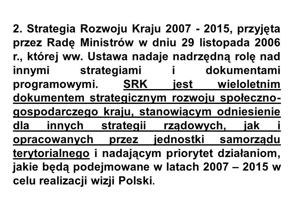 2. Strategia Rozwoju Kraju 2007 - 2015, przyjęta przez Radę Ministrów w dniu 29 listopada 2006 r., której ww. Ustawa nadaje nadrzędną rolę nad innymi